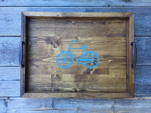 Rustic Wooden Tray (Vintage Bicycle)