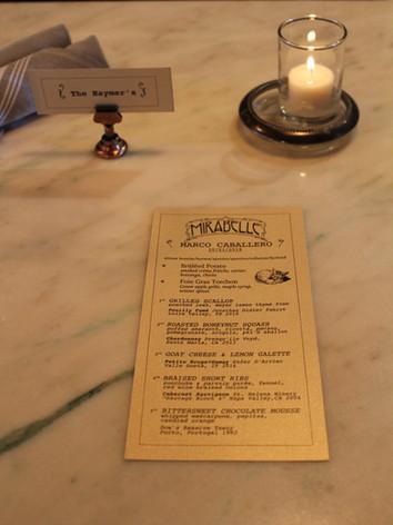Mirabelle menu - Chef Marco Caballero