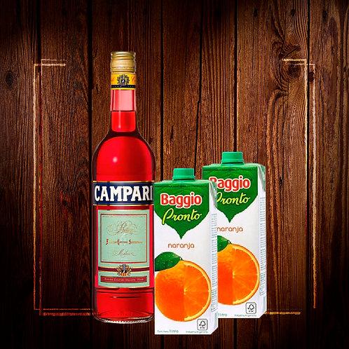 Campari + 2 jugo baggio naranja litro