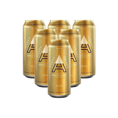 Cerveza ANDES RUBIA  DE 6 latas 473cc