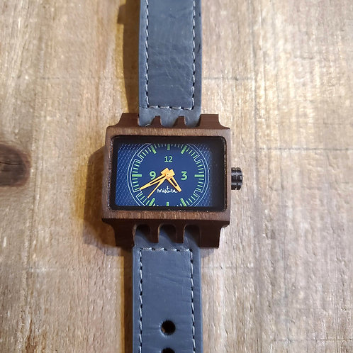 Lenzo Grey, Blue & Wooden Mistura Watch