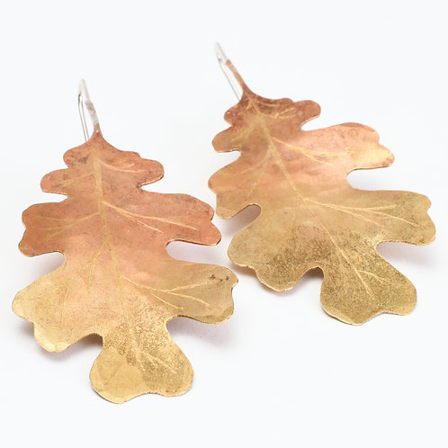 Hand Sawn Brass Oak Leaf Threader Earrings