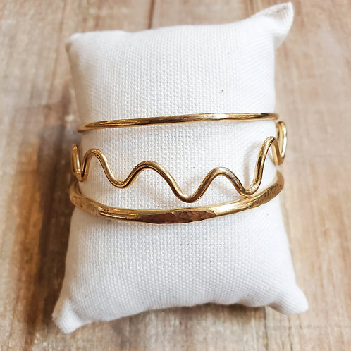 Brass Bangle Bracelet Set (3)