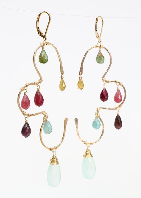 Earrings w/  Multi Colored Tourmalines & Mint Chalcedony