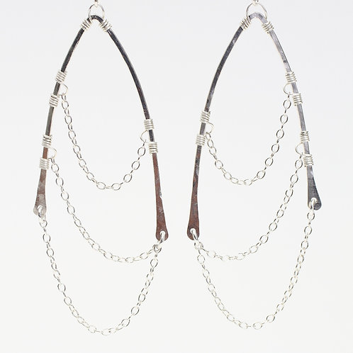 Sterling Silver Chain Wing Earrings