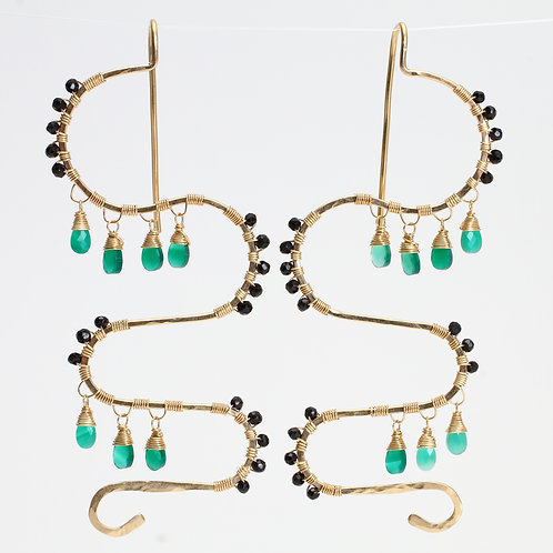 Squiggle Threader Earrings w/ Green Onyx & Black Spinel