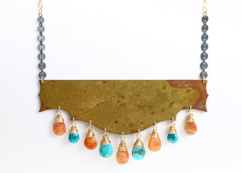 Sunstone & Turquoise Necklace with Large Vintage 1920's Brass Pendant