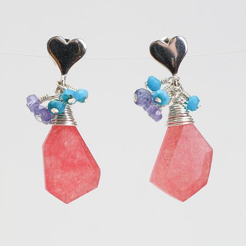 Heart Stud Earrings with Pink Jade, Turquoise, & Tanzanite