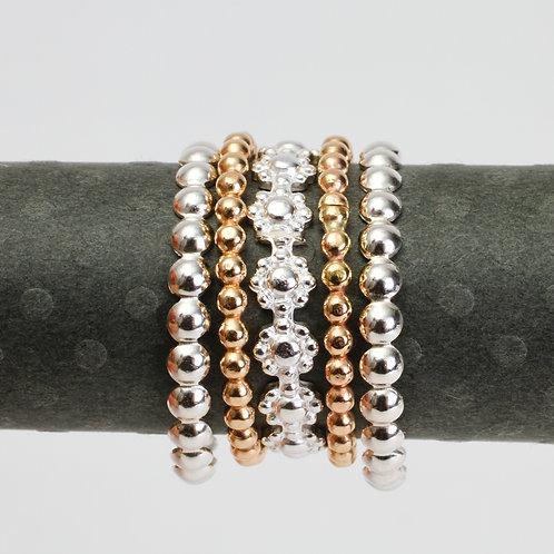 Set 3 - Daisy & Bead Stack Ring Set