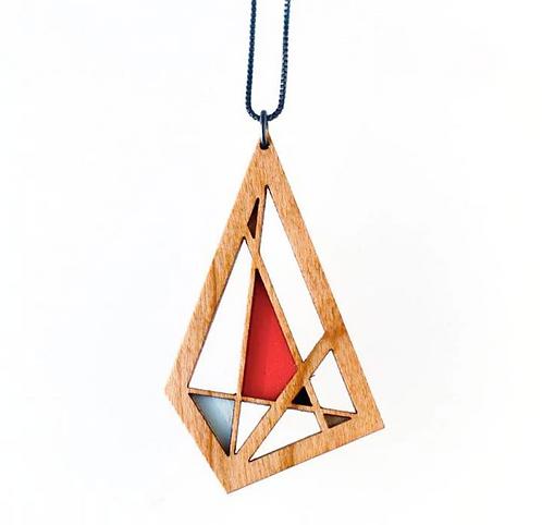 Abstract Diamond Necklace - Walnut & Graphite