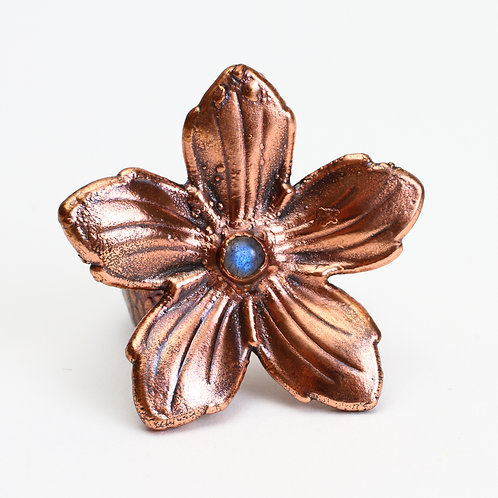 Copper Electroformed Flower & Moonstone Ring