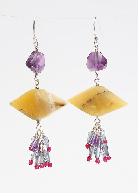 Funky Earrings with Yellow Opal, Amethyst, Blue Quartz & Rhodolite Garnet