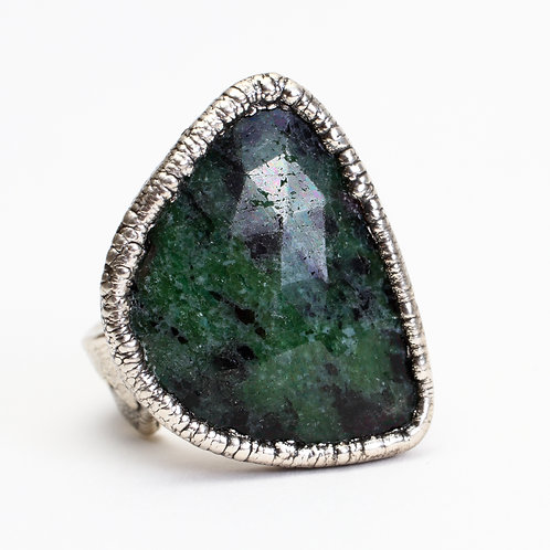 Fine Silver Plated Zoisite Ring