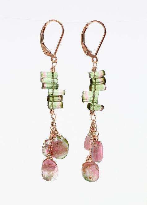 Watermelon Tourmaline Bar Drop Earrings