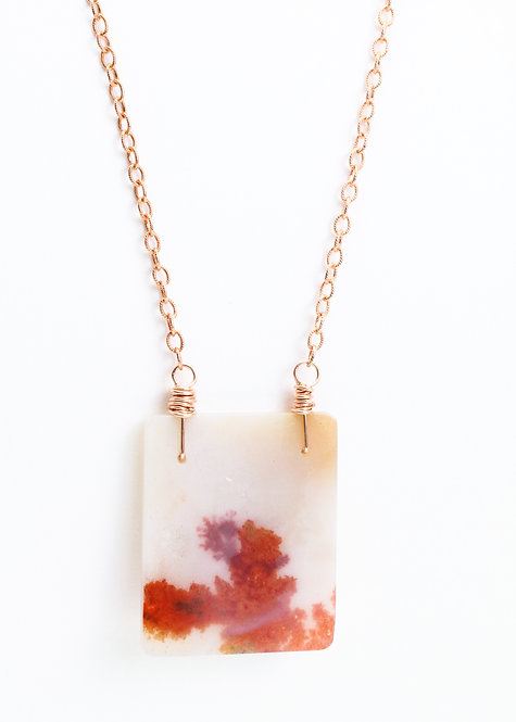 Square (Red) Dendritic Quartz Pendant Necklace