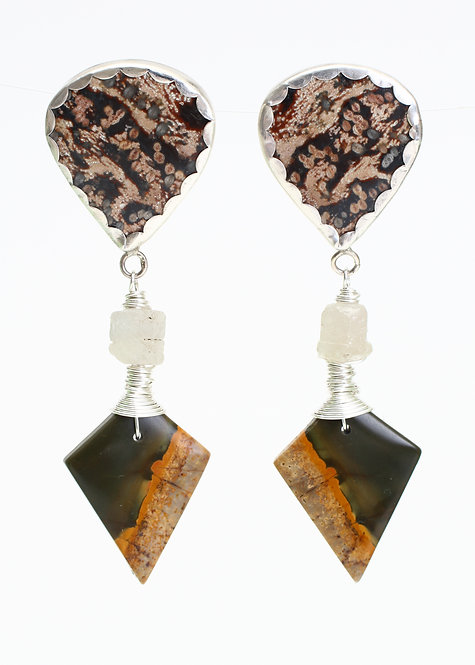 Viper Jasper, Raw Umba Sapphire & Hand Drilled Kite Red Creek Jasper Earrings