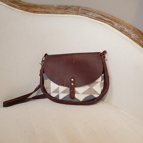 Rosa - Grey Arrow Brown Leather Cross Body Bag