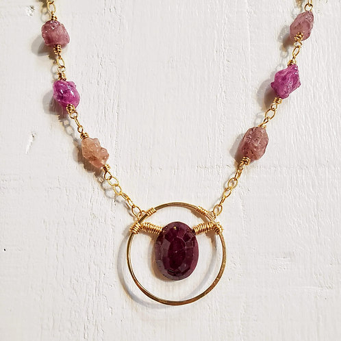 Ruby In a Hammered Circle and Umba Sapphires Necklace