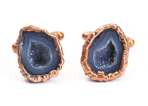 Copper Electroformed Mexican Tabasco Geode Cuff Links