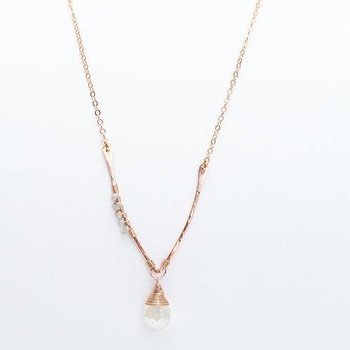 Wishbone Necklace with White Chalcedony & Raw Champagne Diamond