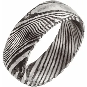 Damascus Steel 8 mm Patterned Band