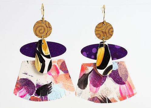 Ainsley Earring - Plum Coral Floral