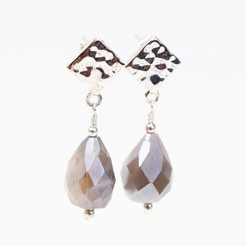 Grey Moonstone on Silver Stud Earrings
