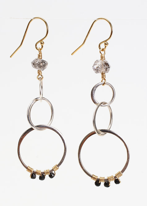Multi Circle Drop Earrings with Herkimer Diamonds & Black Spinel