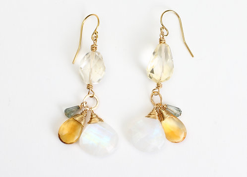 Citrine, Green Amethyst & Rainbow Moonstone Earrings