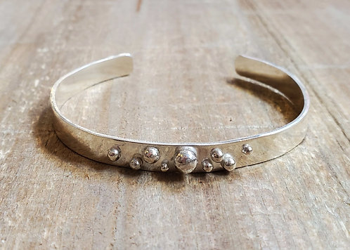 Sterling Silver Hammered Cuff Bracelet w/ Silver Ball Accents