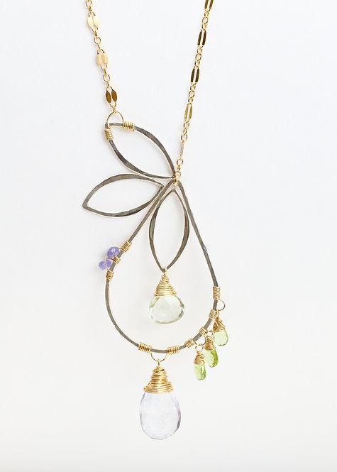 Pear Necklace w/ Scorzalite, Green Amethyst, Peridot & Tanzanite