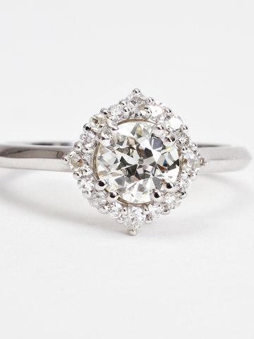 Diamond Halo Knife Edge Engagment Ring