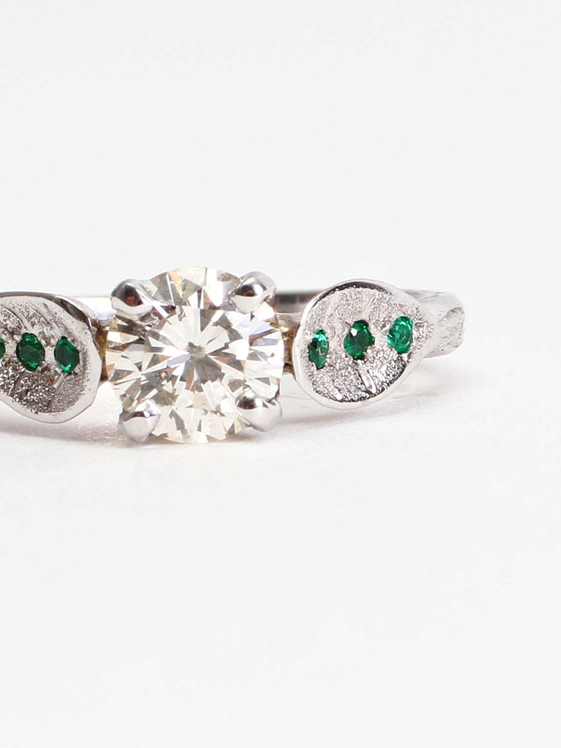 Diamond & Emerald Leaf Engagement Ring