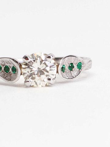 Diamond & Emerald Leaf Engagement Ring