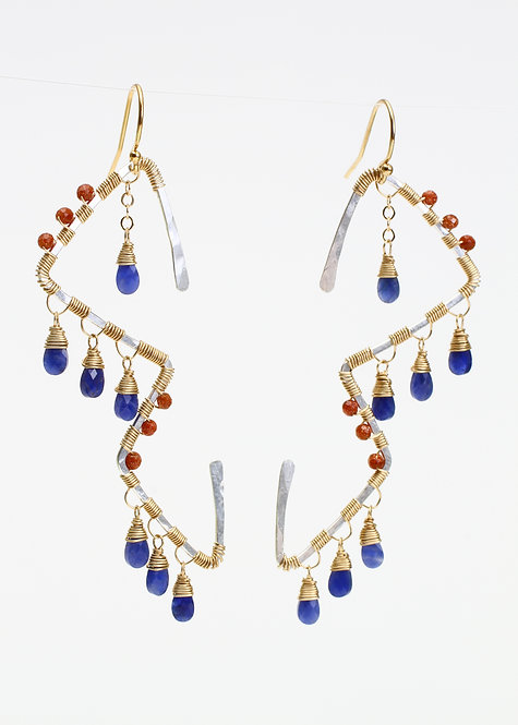 Funky Shape Earrings with Sapphire & Sunstone