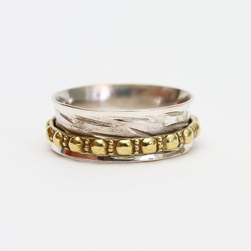 Sterling Silver Spinner Ring with Textured Brass Band
