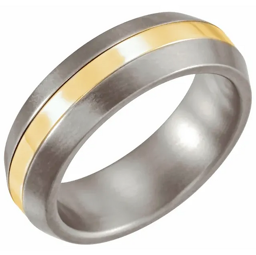 Titanium & 14K Yellow Inlay  Satin Finished Band
