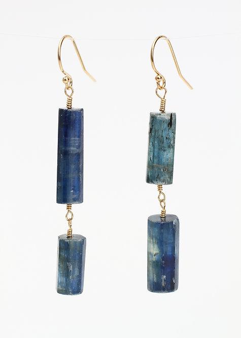 Kyanite Tube Drop Earrings