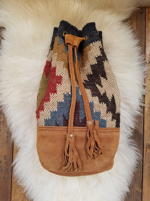 """Woven Jute Bucket Backpack with Suede Trim & Straps.  Size: 11"""" x 14"""""""