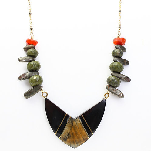 Antique Pendant Necklace with Pyrite, Serpentine, and Carnelian