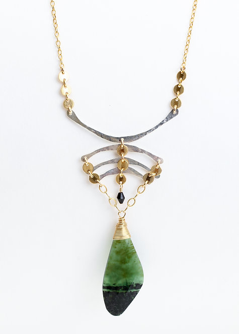 Horseshoe Crab Necklace with Vesuvianite & Black Spinel Pendant