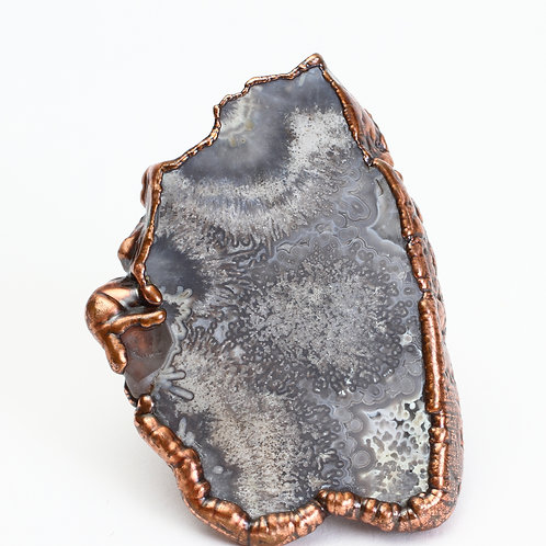 Copper Electroformed Large Gray Agate Slice Ring