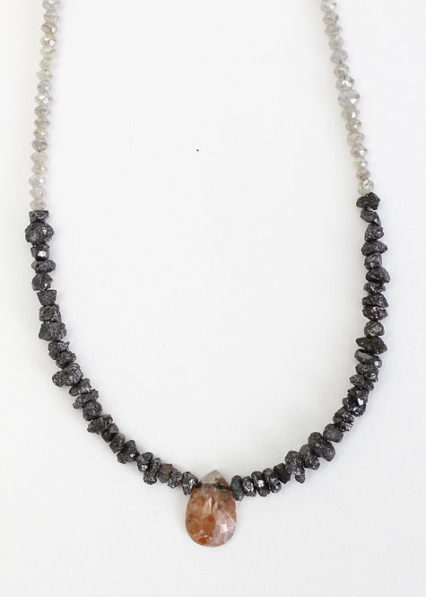.97ct Rustic Red Pear Rose Cut Diamond Necklace