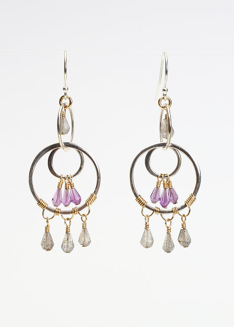 Multi Circle drop Earrings with Labradorite & Amethyst