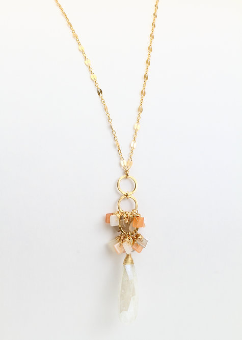 Lariat Necklace with Silverite & Moonstones on Fancy Chain
