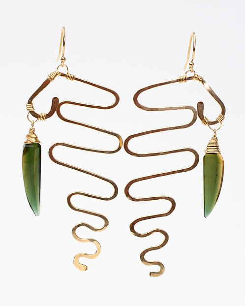 Squiggle Earrings with Olive Quartz Leaf