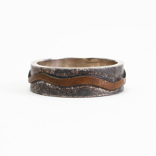 Sacred River Band - Thin- Sterling Silver & Copper