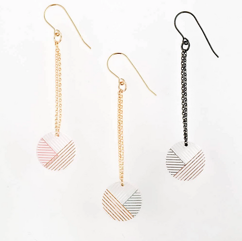 Osa Earrings - Oxidized Silver & Black/Rose