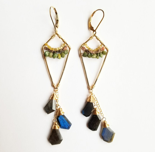 14k Yellow Gold Filled Hammere Kite Earrings Wred With Red And Green Raw Diamonds Crown Cut Labradorite Cer