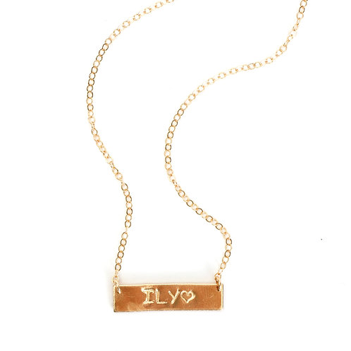 Personalized 14K Yellow Gold Filled Bar Necklace